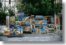 athens, europe, greece, horizontal, paintings, shops, trees, photograph