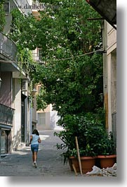 athens, europe, girls, greece, running, streets, trees, vertical, photograph