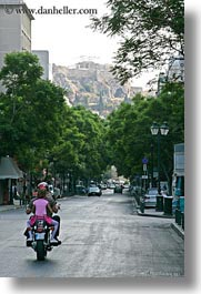 athens, colors, europe, greece, green, motorcycles, pink, streets, vertical, photograph
