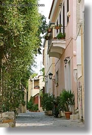 athens, buildings, europe, greece, narrow, streets, trees, vertical, photograph