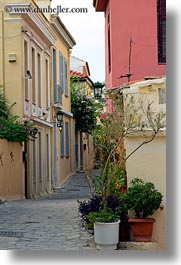 athens, buildings, colorful, europe, greece, plants, streets, vertical, photograph