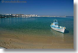 beaches, blues, boats, colors, europe, greece, green, horizontal, men, mykonos, people, water, photograph