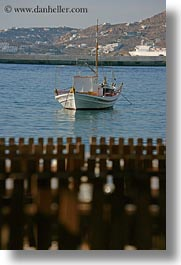 boats, europe, fences, greece, mykonos, vertical, photograph