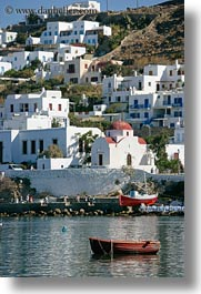 boats, europe, greece, houses, mykonos, oranges, vertical, photograph