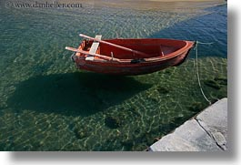 boats, colors, europe, greece, green, horizontal, mykonos, oranges, shadows, photograph