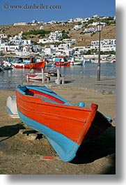 beaches, blues, boats, europe, greece, mykonos, oranges, vertical, photograph