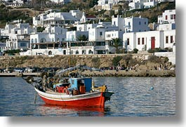 blues, boats, buildings, europe, greece, horizontal, mykonos, red, structures, tops, photograph