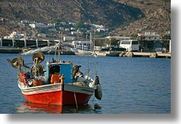 blues, boats, europe, greece, horizontal, mykonos, red, tops, photograph
