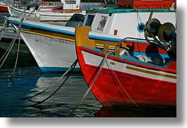 boats, closeup, europe, greece, horizontal, mykonos, red, white, photograph