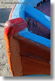 blues, boats, europe, greece, mykonos, nose, oranges, red, slow exposure, vertical, photograph