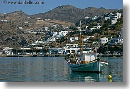 boats, europe, greece, harbor, horizontal, mykonos, white, photograph