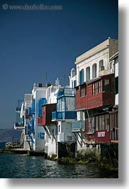 buildings, europe, greece, houses, mykonos, vertical, waterfront, photograph