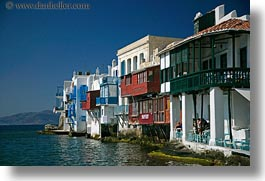 buildings, europe, greece, horizontal, houses, mykonos, waterfront, photograph