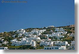 buildings, europe, greece, hills, homes, horizontal, mykonos, white wash, photograph