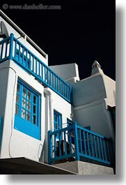 blues, buildings, europe, greece, houses, mykonos, trim, vertical, white wash, photograph