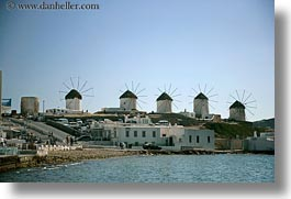 buildings, europe, greece, horizontal, mykonos, water, windmills, photograph