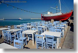 boats, chairs, europe, greece, horizontal, mykonos, red, photograph