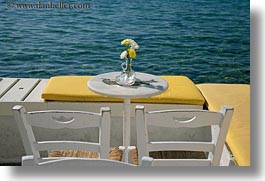 chairs, europe, flowers, greece, horizontal, mykonos, tables, yellow, photograph