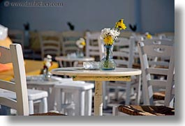 chairs, europe, flowers, greece, horizontal, mykonos, tables, photograph