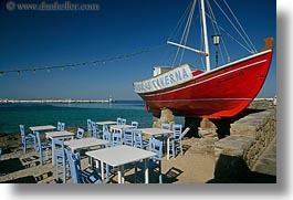 boats, chairs, europe, greece, horizontal, mykonos, red, tables, photograph