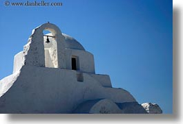 bell towers, buildings, churches, europe, greece, horizontal, mykonos, structures, white wash, photograph