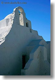 bell towers, buildings, churches, europe, greece, mykonos, structures, vertical, white wash, photograph