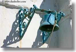 bells, blues, churches, europe, greece, horizontal, mykonos, white wash, photograph