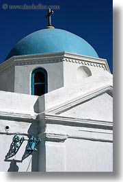 blues, churches, domed, europe, greece, mykonos, vertical, white wash, photograph