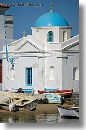blues, boats, churches, domed, europe, greece, mykonos, vertical, white wash, photograph