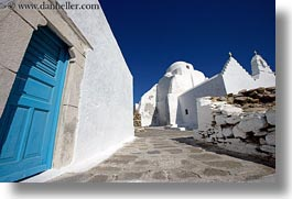blues, churches, doors, europe, greece, horizontal, mykonos, white wash, photograph