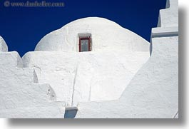 blues, churches, europe, greece, horizontal, mykonos, red, sky, white wash, windows, photograph