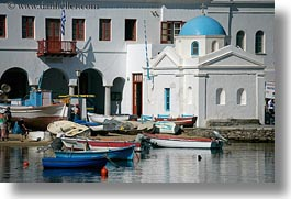 boats, churches, europe, greece, horizontal, mykonos, white wash, photograph