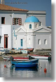 boats, churches, europe, greece, mykonos, vertical, white wash, photograph