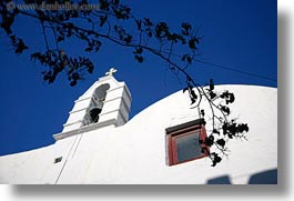 bell towers, branches, buildings, churches, europe, greece, horizontal, mykonos, structures, white wash, photograph
