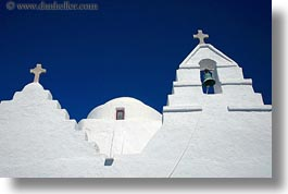 bell towers, buildings, churches, crosses, europe, greece, horizontal, mykonos, structures, white wash, windows, photograph