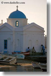 boats, churches, europe, greece, men, mykonos, vertical, white wash, photograph