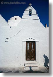 bell towers, buildings, churches, doors, europe, greece, mykonos, shadows, structures, vertical, white wash, photograph