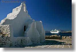 bell towers, buildings, churches, cruise, europe, greece, horizontal, mykonos, ships, structures, white wash, photograph