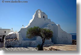 bell towers, buildings, churches, europe, greece, horizontal, mykonos, structures, trees, white wash, photograph