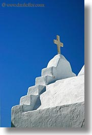 churches, crosses, europe, greece, mykonos, tops, vertical, white wash, photograph