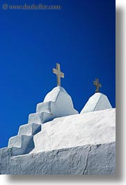 churches, crosses, europe, greece, mykonos, tops, two, vertical, white wash, photograph