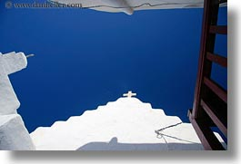 balconies, churches, europe, greece, horizontal, mykonos, red, upview, white wash, photograph