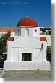 churches, domed, europe, greece, mykonos, red, vertical, white wash, photograph