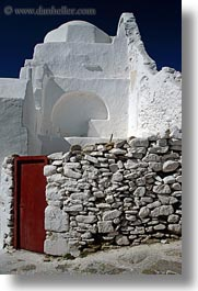 churches, doors, europe, greece, mykonos, red, rocks, vertical, white wash, photograph