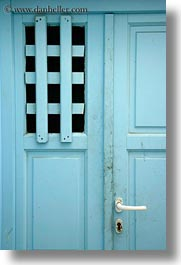blues, doors, europe, greece, handle, mykonos, vertical, white, photograph