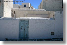 blues, doors, europe, greece, horizontal, mykonos, old, stucco, walls, white wash, photograph