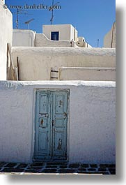 blues, doors, europe, greece, mykonos, old, stucco, vertical, walls, white wash, photograph