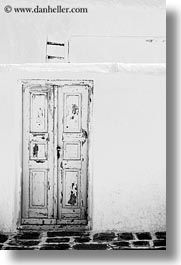 black and white, doors, europe, greece, mykonos, old, vertical, white wash, photograph