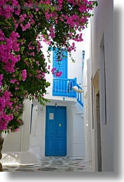 blues, bougainvilleas, doors, europe, greece, mykonos, pink, vertical, white wash, photograph