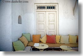 benches, colorful, doors, europe, greece, horizontal, mykonos, pillows, photograph